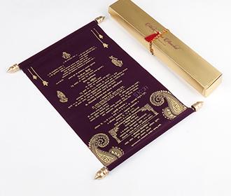 Scroll style wedding card in purple velvet finish with rectangular box