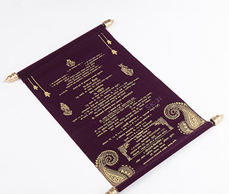 Scroll style wedding card in purple velvet finish with square box