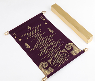 Scroll style wedding card in purple velvet finish with square box -