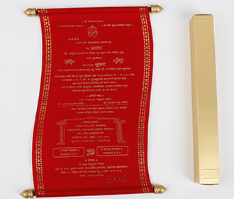 Scroll style wedding card in red satin finish & square box