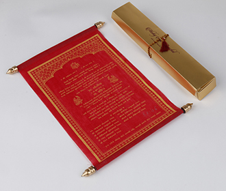 Scroll style wedding card in red with rectangular box