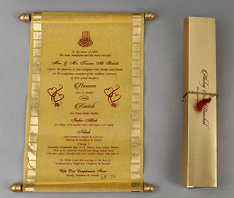 Scroll style wedding card in yellow rectangular box -