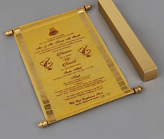 Scroll style wedding card in yellow with square box -
