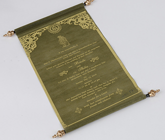 Scroll style wedding invitation card in green with square box