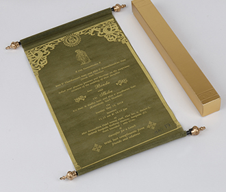 Scroll style wedding invitation card in green with square box -
