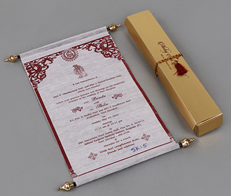 Scroll style wedding invite in baby pink with rectangular box -