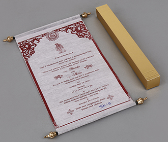 Scroll style wedding invite in baby pink with square box -