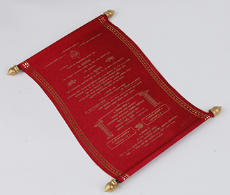 Scroll style wedding invite in maroon satin finish with square box