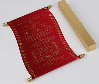 Scroll style wedding invite in maroon satin finish with square box -