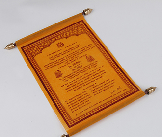 Scroll style wedding invite in Orange with square box