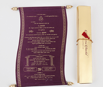 Scroll style wedding invite in purple satin finish with rectangular box -