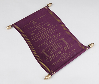 Scroll style wedding invite in purple satin finish with square box