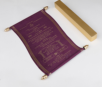 Scroll style wedding invite in purple satin finish with square box -