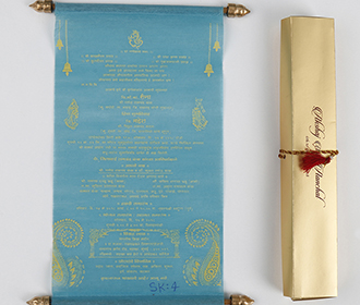 Scroll style wedding invite in sky blue with rectangular box -