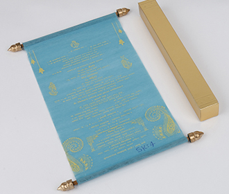 Scroll style wedding invite in sky blue with square box -