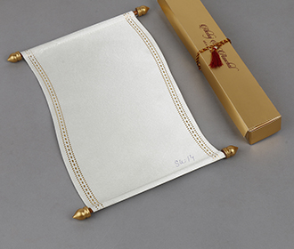 Scroll style wedding invite in white satin finish with rectangular box -