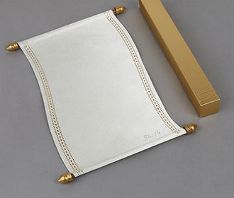 Scroll style wedding invite in white satin finish with square box -