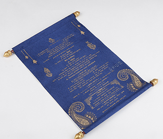 Scroll wedding card in blue satin finish with rectangular box