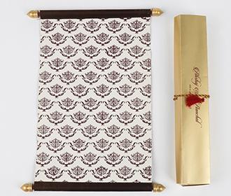 Scroll wedding card in brown satin finish with rectangular box