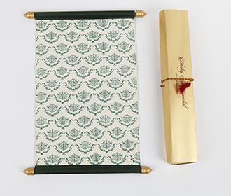 Scroll wedding card in green satin finish with rectangular box