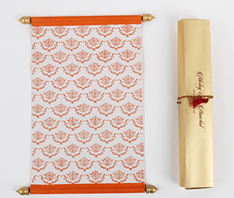 Scroll wedding card in orange satin finish with rectangular box