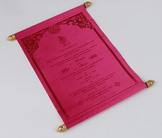 Scroll wedding card in pink satin finish with square box