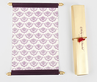 Scroll wedding card in purple satin finish with rectangular box