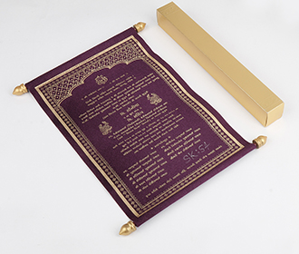 Scroll wedding card in purple satin finish with square box -