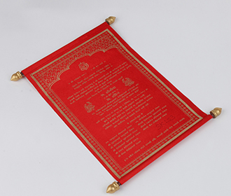Scroll wedding card in red satin finish with square box
