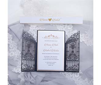 Shimmering Black colour royal gates of the palace wedding invite in laser cut