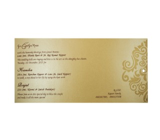 Sikh Wedding Card Design in Brown with Pull out Inserts