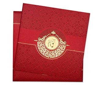 Sikh wedding invitation card in red & golden