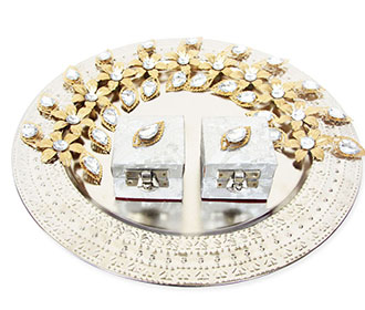 Silver Plated Ring Ceremony Tray with Golden Flowers -