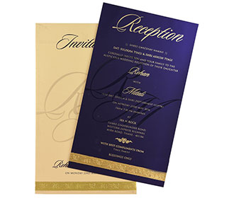 Simple & elegant multi faith invitation in royal blue colour -