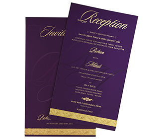 Simple & elegant multi faith invitation in royal purple colour -