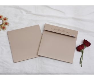 Simple and sober beige wedding invite