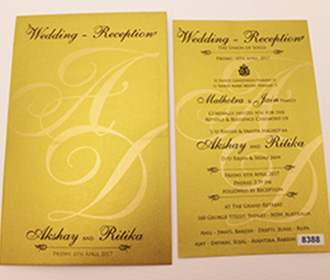 Simple multifaith pull out wedding invitation in golden color -