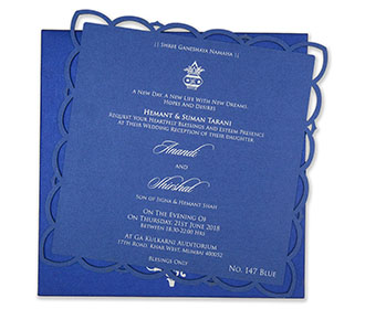 Single Insert cardboard wedding invite in royal blue -