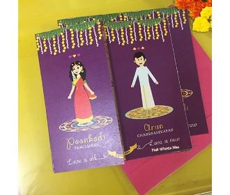 Purple South Indian Theme Based Wedding Invite