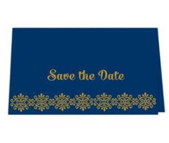 Save the date card  in Blue & Antique Golden Color -