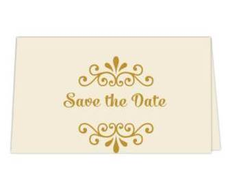 Save the date card  in Cream & Golden Color -