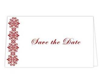 Save the date card  in White & Red Color -