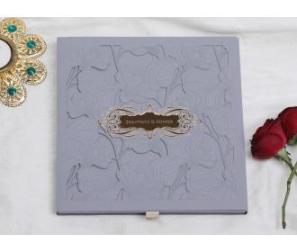 Indian Wedding Invitation in Slate Blue laser cut design