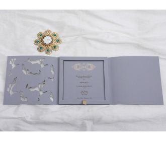 Indian Wedding Invitation in Slate Blue laser cut design