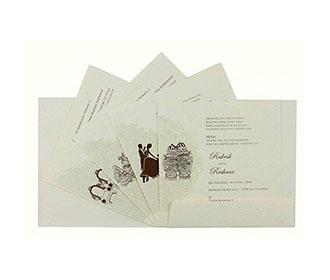 Tamil Wedding Card in Cream with Self Flower Design & Ganesha