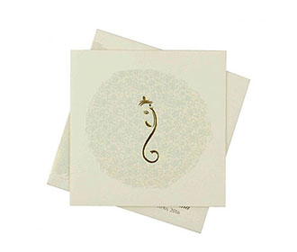 Tamil Wedding Card in Cream with Self Flower Design & Ganesha -