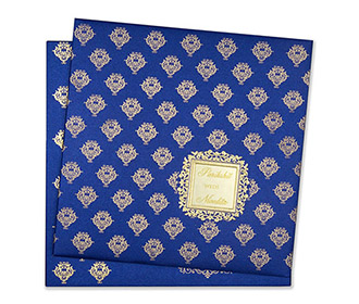 Tamil wedding invitation in blue with golden motifs