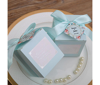 Tiffany blue color square wedding favor and gift boxes