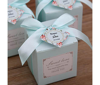 Tiffany blue color square wedding favor and gift boxes -