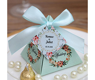 Tiffany Blue Floral Pyramid Wedding Favor and Gift Boxes -